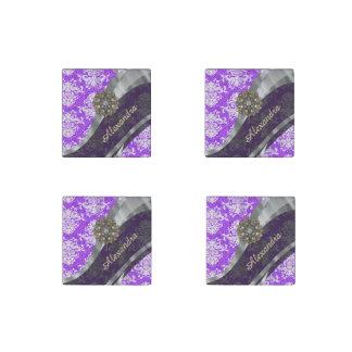 Personalized purple pretty girly damask pattern stone magnet