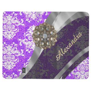 Personalized purple pretty girly damask pattern journal