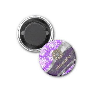 Personalized purple pretty girly damask pattern 1 inch round magnet