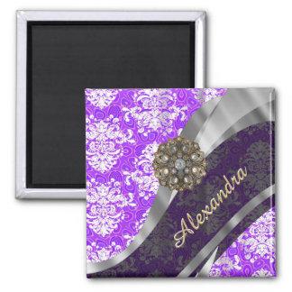 Personalized purple pretty girly damask pattern magnet