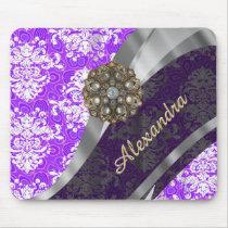 Personalized purple pretty girly damask pattern mouse pad