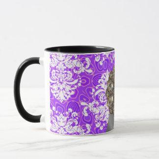 Personalized purple pretty girly damask pattern mug