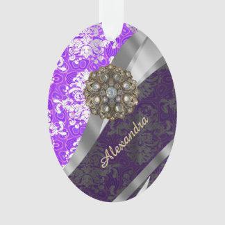 Personalized purple pretty girly damask pattern ornament