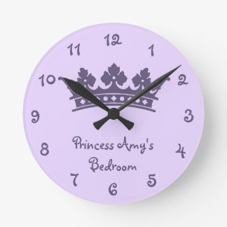 Personalized Purple Princess Girl's Bedroom Round Clock