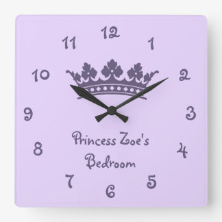 Personalized Purple Princess Girl's Bedroom Square Wall Clock