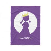 Personalized Purple Princess Silhouette Girls Fleece Blanket