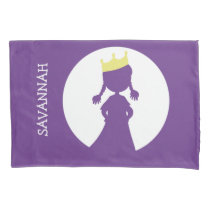 Personalized Purple Princess Silhouette Girls Pillow Case