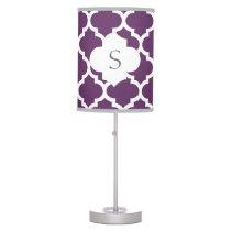 personalized purple quatrefoil custom monogram table lamp