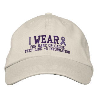 Personalized Purple Ribbon Awareness Embroidery Embroidered Baseball Cap
