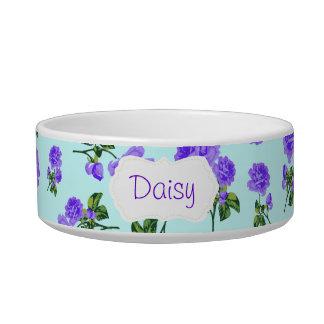 Personalized purple roses pet bowl - blue