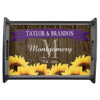 PERSONALIZED PURPLE RUSTIC SUNFLOWER WEDDING SERVING TRAY