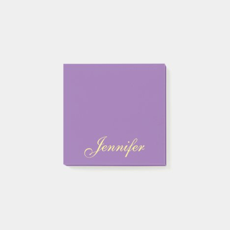 Personalized Purple Script Post it Sticky Notes