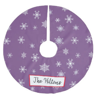 Personalized Purple Snowflake Christmas Skirt Brushed Polyester Tree Skirt