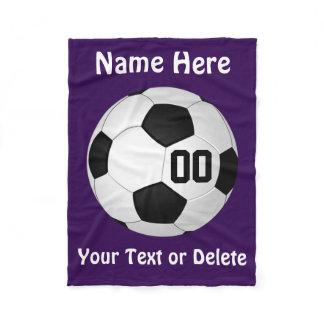 Personalized Purple Soccer Fleece Blanket