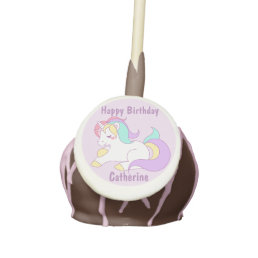 Personalized Purple Unicorn Happy Birthday Cake Pops