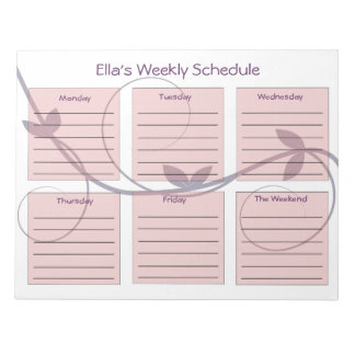 Personalized Purple Vines Weekly Schedule Notepad