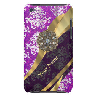 Personalized purple vintage damask pattern barely there iPod case
