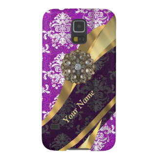 Personalized purple vintage damask pattern case for galaxy s5