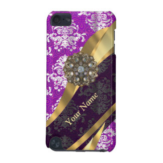 Personalized purple vintage damask pattern iPod touch 5G cover