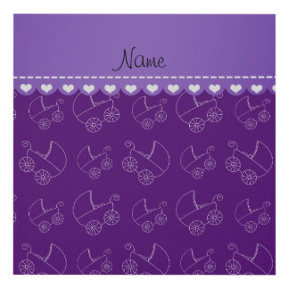Personalized purple white baby carriages panel wall art