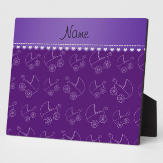 Personalized purple white baby carriages display plaque