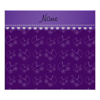 Personalized purple white baby carriages poster