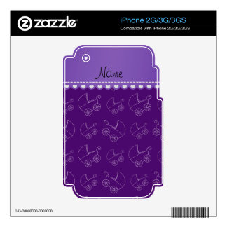 Personalized purple white baby carriages skins for the iPhone 3GS