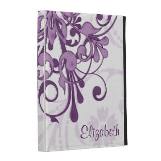 Purple and White Floral Personalized  iPad Folio Case