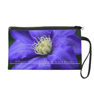 Personalized Purple Wildflower / Clematis Wristlet