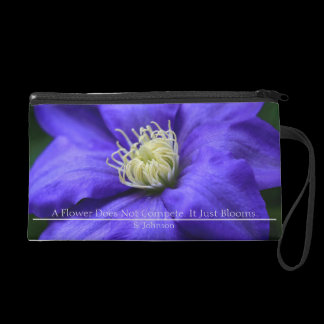 Personalized Purple Wildflower / Clematis Wristlet