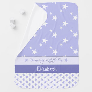 Personalized Purple with stars baby Stroller Blanket