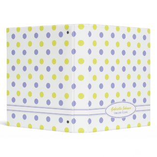 Personalized Purple & Yellow Polka Dot Binder binder