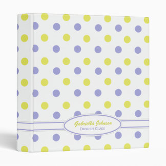 Personalized: Purple & Yellow Polka Dot Binder 2