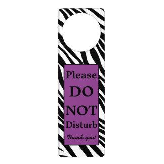Personalized Purple Zebra Print Door Hanger