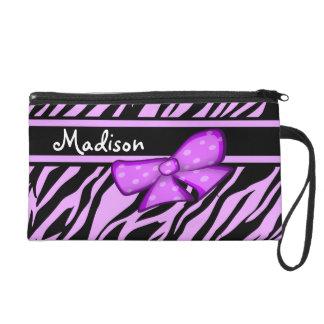 Personalized Purple Zebra Striped Wristlet