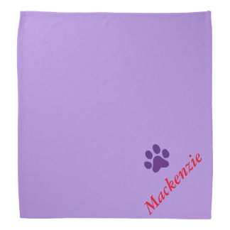Personalized Purring Purple Paw Print Bandana