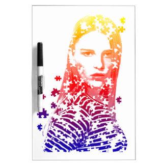 Personalized puzzle creative Lady portrait Designs Dry Erase Board