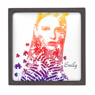 Personalized puzzle creative Lady portrait Designs Gift Box