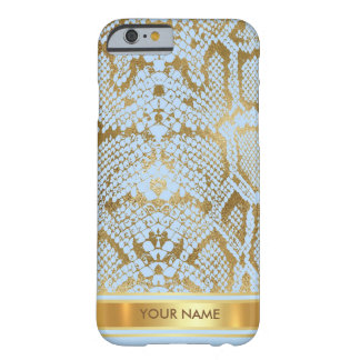 Personalized Python Anaconda Skin Blue Gold Glam Barely There iPhone 6 Case