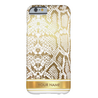 Personalized Python Snake Skin White Gold Glam Barely There iPhone 6 Case