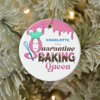 Personalized Quarantine Baking Queen Ceramic Ornament