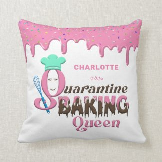 Personalized Quarantine Baking Queen Throw Pillow