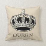 "Personalized Queen and King Crown Throw Pillow<br><div class=""desc"">A nice classy pillow for the queen in your life! Features a classy crown with customizable text and background color. Fully customizable to change text,   or add names,  images,  and more. Enjoy!</div>"