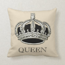 Personalized Queen and King Crown Throw Pillow