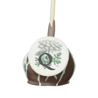 Personalized Queen Anne's Lace Flower Monogram Cake Pops