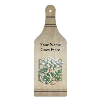 Personalized Queen Anne's Lace Monogram Cutting Board