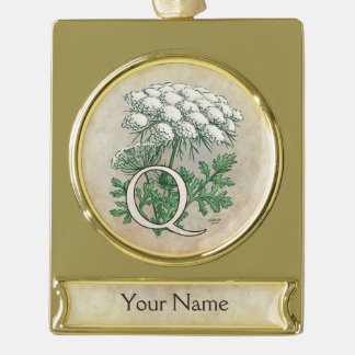 Personalized Queen Anne's Lace Monogram Gold Plated Banner Ornament