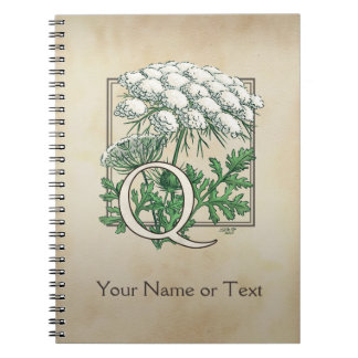 Personalized Queen Anne's Lace Monogram Notebook