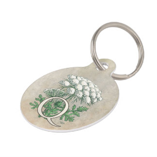 Personalized Queen Anne's Lace Monogram Pet Tag