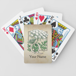Personalized Queen Anne's Lace Monogram Bicycle Playing Cards